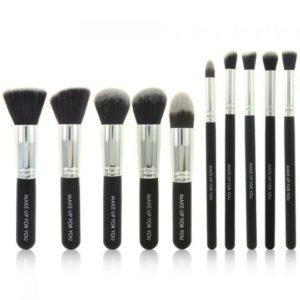 Brochas de Maquillaje Set Negras Plata