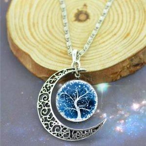 Collar luna árbol de la vida.