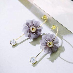 Pendientes Dorados Flor Gris colgantes con forma de gota