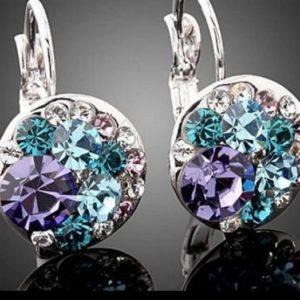 pendientes brillante zirconita y cristal