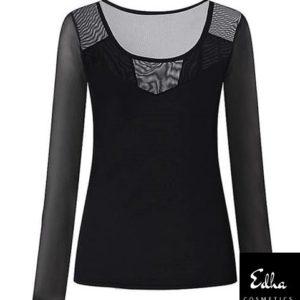 camiseta elástica negra transparencias