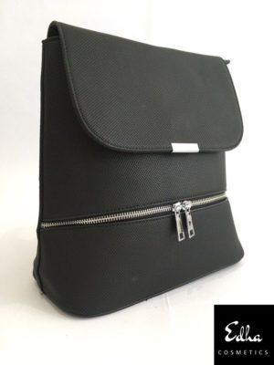 bolso mochila negro con solapa de moda