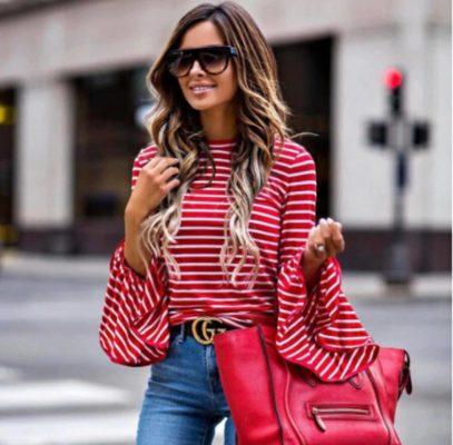 Jersey de punto a rayas rojas y blancas