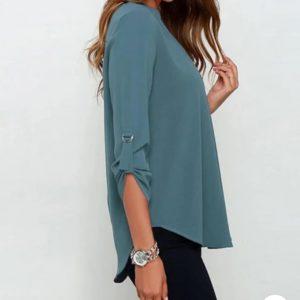 Blusa de gasa Cuello en V verde