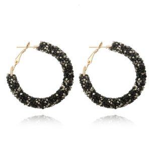 Pendientes Aro Largos Efecto Piedras Diamantes de moda