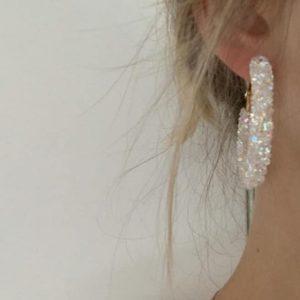 Pendientes Aro Largos Efecto Piedras Diamantes blancos