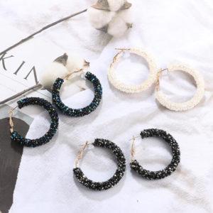 Pendientes Aro Largos Efecto Piedras Diamantes negros