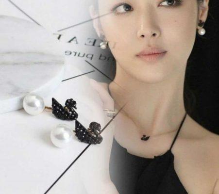 pendientes elegantes negros