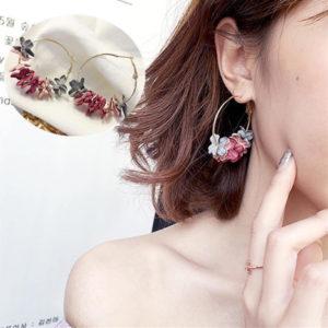 Pendientes Aros con Flores moda