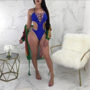 Trikini Azul con Cordones en escote