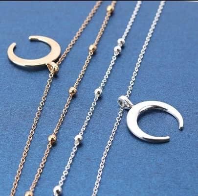 collar doble plata con luna barato para fiesta