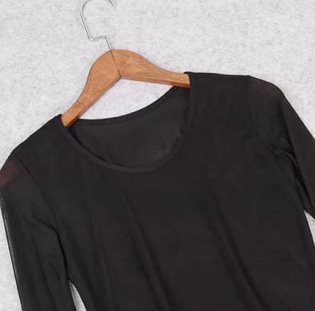blusa gasa transparente negra barata