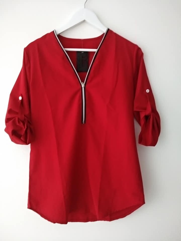blusa roja cremallera escote barata
