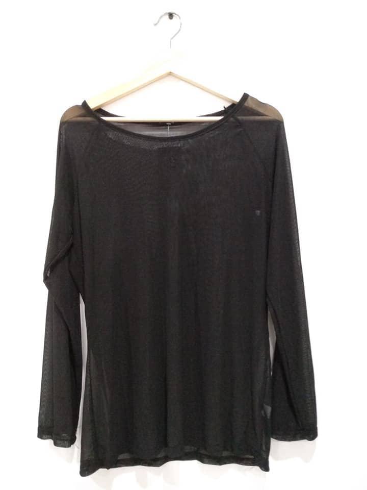 blusa transparente negra gasa barata